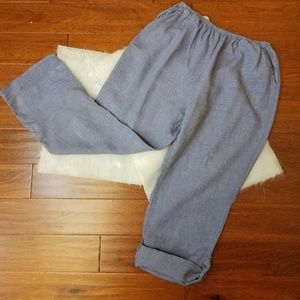 Plus Flax 100% linen wide leg blue trousers